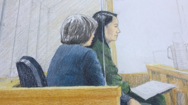 Meng Wanzhou, the chief financial officer of Huawei Technologies, is seen in a Vancouver court room on Fri., Dec. 7, 2018. (CTV Vancouver)