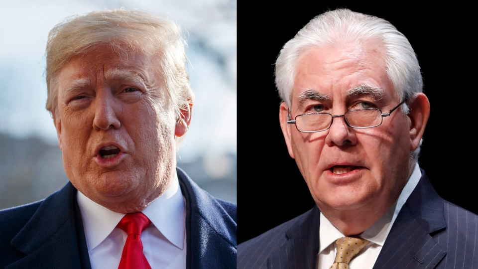 U.S. President Donald Trump and former Secretary of State Rex Tillerson are seen in this composite image.