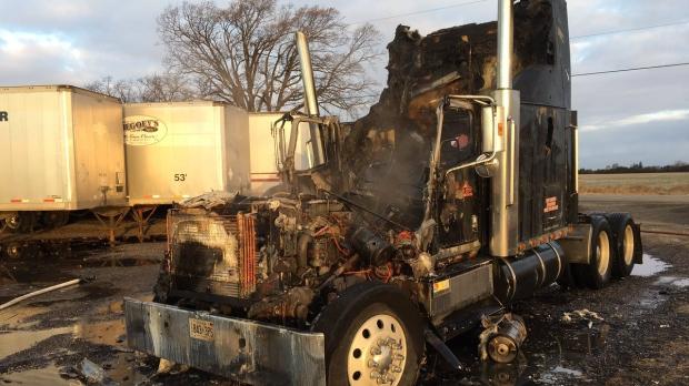 Semi-truck fire