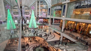 In this file photo, last minute shoppers file through the Eaton Centre shopping centre in Toronto on Wednesday, December 24, 2014. (THE CANADIAN PRESS/Frank Gunn)