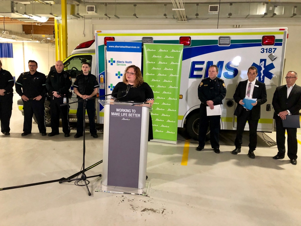 Sarah Hoffman announces EMS support on December 7, 2018.