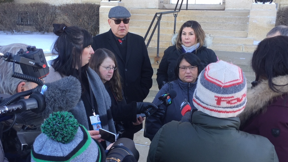 Dorothy Laboucane speaks to media Dec. 12, 2018. (Daniel Shingoose/CTV Saskatoon)