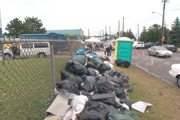 A pile of garbage is seen outside a waste transfer station in Toronto, Monday, July 13, 2009.
