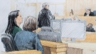 In this courtroom sketch, Meng Wanzhou, far left, the chief financial officer of Huawei Technologies, sits beside a translator during a bail hearing at B.C. Supreme Court in Vancouver, on Friday December 7, 2018. THE CANADIAN PRESS/Jane Wolsak