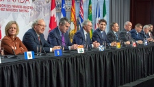 Canadian premiers and the Prime Minister speak to the media at the First Ministers closing news conference, Friday, December 7, 2018 in Montreal. They are from the left:Joe Savikataaq, Nunavut, Bob McLeod Northwest Territories, Rachel Notley, Alberta, Wade MacLauchlan, PEI, Stephen McNeil, Nova Scotia, Blaine Higgs, New Brunswick, Justin Trudeau, Canada, Francois Legault, Quebec, John Horgan, British Columbia, Scott Moe, Saskatchewan, Dwight Ball, Newfoundland and Sandy Silver, Yukon. THE CANADIAN PRESS/Ryan Remiorz