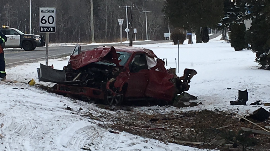 One man died in a crash in Elgin County, Ont. on Saturday, Dec. 8, 2018. (Brent Lale / CTV London)