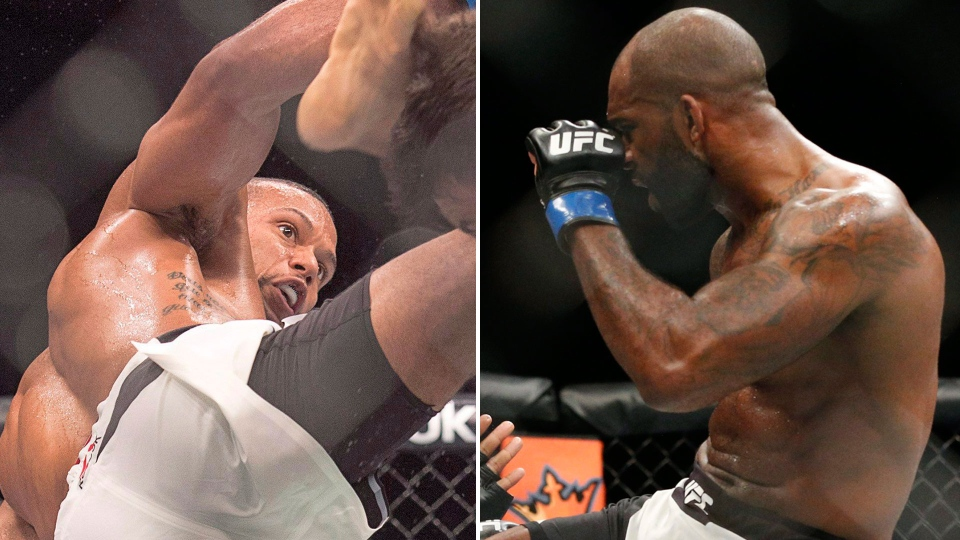 Jimi Manuwa (right) and Thiago Santos are see in this combination image. (AP/John Locher and THE CANADIAN PRESS/Andrew Vaughan)