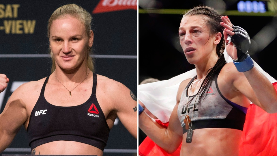 Valentina Shevchenko (left) and Joanna Jedrzejczyk are seen in this combination image. (Erik Verduzco/Las Vegas Review-Journal and AP/Frank Franklin II)