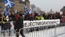 Hundreds protest UN migration pact