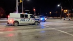 Police work at the scene where a pedestrian was struck at Highbury Avenue and Dundas in London, Ont. on Saturday, Dec. 8, 2018. (Tamara Heisel / CTV London)
