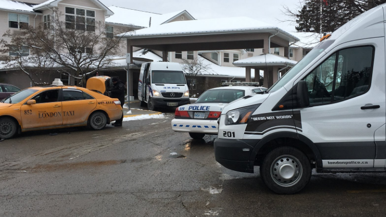Police investigate at Masonville Manor in London, Ont. on Saturday, Dec. 8, 2018. (Brent Lale / CTV London)