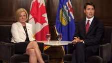 Prime Minister Justin Trudeau and Alberta Premier Rachel Notley meet in Edmonton on Wednesday September 5, 2018.THE CANADIAN PRESS/Jason Franson