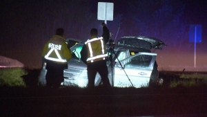 RCMP crash analysts investigate a three-vehicle crash involving an unmarked police cruiser.
