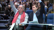 "Quebec Solidaire co-spokespeople Manon Masse and Gabriel Nadeau-Dubois spoke at College de Maisonneuve on Sunday, touching on the CAQ government's proposed religious symbols ban. A party member claims that QS is divided nearly ""half and half"" on the issue. (CTV Montreal)"