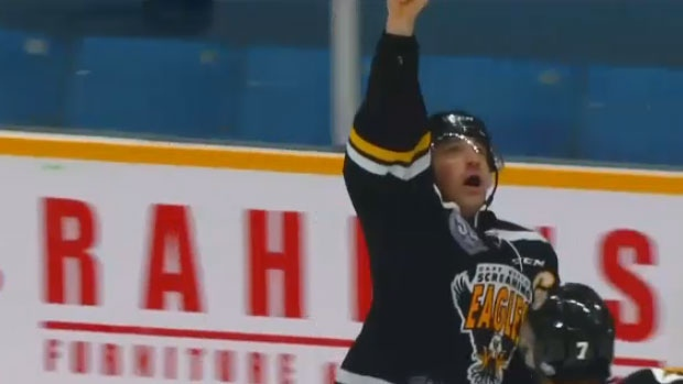 13043e3adfa Cape Breton Screaming Eagles captain Declan Smith pays tribute to his  mother Rachel by pointing to the sky after scoring the game winning goal on  December ...