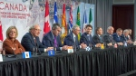Canadian premiers and the Prime Minister speak to the media at the First Ministers closing news conference, Friday, December 7, 2018 in Montreal. They are from the left: Rachel Notley, Alberta, Wade MacLauchlan, PEI, Stephen McNeil, Nova Scotia, Blaine Higgs, New Brunswick, Justin Trudeau, Canada, Francois Legault, Quebec, John Horgan, British Columbia, Scott Moe, Saskatchewan, Dwight Ball, Newfoundland, and Sandy Silver, Yukon. THE CANADIAN PRESS/Ryan Remiorz