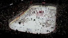 A massive amount of teddy bears rained down onto the ice at the Scotiabank Saddledome on December 9, 2018 for the annual Hitmen Teddy Bear Toss.