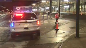 Officials blocked off a section of the Calgary International Airport on Sunday evening because of a suspicious package.