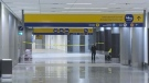 The international arrivals and departures area stood empty as police investigated a suspicious package.