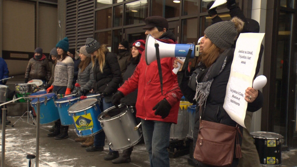 Protesters gathered in Montreal outside of a Cuban tourism office to support a father who's been stuck in Cuba for over a year and now faces a second trial for his involvement in a fatal boating accident.