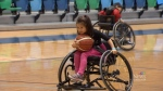People got a chance to try wheelchair basket at the Oval's Community Legacy Day.