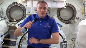 David Saint-Jacques speaks to media from the ISS