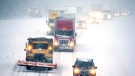 Snow-covered roads made traffic move slowly on I-85 in Lexington, NC on Sunday, December 9, 2018. (H. Scott Hoffmann/News & Record via AP)/News & Record via AP)