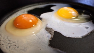The darker orange yolk of a homegrown chicken egg, left, compared with the lighter yolk of a store-bought egg in Gillette, Wyo. (Pete Rodman / Gillette News Record via AP)