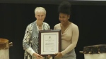 Kardeisha Provo receives the Nova Scotia Human Rights Youth Award in Halifax on Dec. 10, 2018. Provo was recognized for her creation of videos and social media that showcase positive aspects of her community of North Preston.