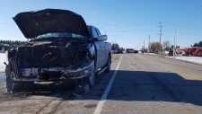 A pickup truck was involved in a crash at the intersection of Line 86 and Floradale Road. (@WRPSToday / Twitter)