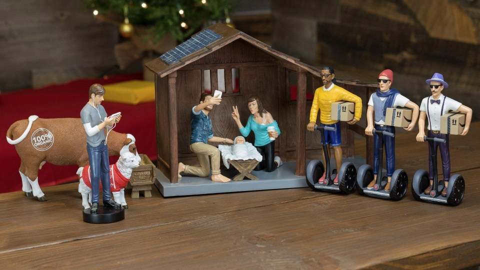 The 'Hipster Nativity Set' depicts the birth of Jesus as if it happened in the 21st century, complete with Joseph taking a selfie and the Three Wise Men delivering Amazon Prime packages. (Gorilla Goodies)