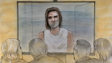 Dawson Farr appears in court on Dec. 10, 2018. Farr has been charged in connection with the death of a 17-year-old in Hamilton. (Sketch by John Mantha)