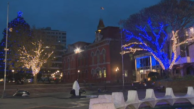 The Christmas lights in Centennial Square have become a hot-button issue after Victoria city council voted to review its Christmas decorations – and whether those decorations should be secular. Dec. 10, 2018. (CTV Vancouver Island)