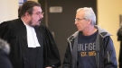 """Normand Dube the """"pilot to the stars"""", talks to his lawyer Maxime Chevalier, at St-Jerome courthouse on Wednesday October 31, 2018. Dube is the pilot who short circuited power lines in Mirabel. Photo: Pierre Obendrauf/ Montreal Gazette"""