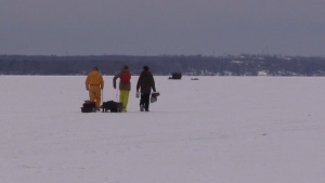 Three fisherman take advantage of the early ice fishing season out on Lake Couchaching on Monday December 10, 2018 (Roger Klein/CTV Barrie)