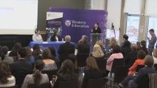 Minister of Status of Women Maryam Monsef speaks at Western University in London, Ont. on Monday, Dec. 10, 2018. (Gerry Dewan / CTV London)