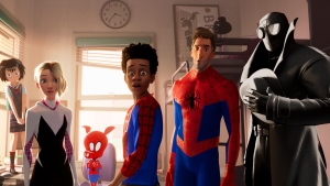 "This image released by Sony Pictures Animation shows characters, from left, Peni, voiced by Kimiko Glen, Spider-Gwen, voiced by Hailee Steinfeld, Spider-Ham, voiced by John Mulaney, Miles Morales, voiced by Shameik Moore, Peter Parker, voiced by Jake Johnson, Spider-Man Noir, voiced by Nicolas Cage in a scene from ""Spider-Man: Into the Spider-Verse. (Sony Pictures Animation via AP)"