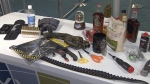 YVR staff showed off confiscated items passengers tried to get through airport security this year.