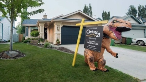There are dinosaurs inside and outside this St. Albert home on the market.