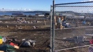 Bulldozers moved in on a tent city site along Nanaimo's waterfront as two modular housing sites opened to former residents. Dec. 10, 2018. (CTV Vancouver Island)