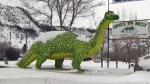 A dinosaur statue in Drumheller
