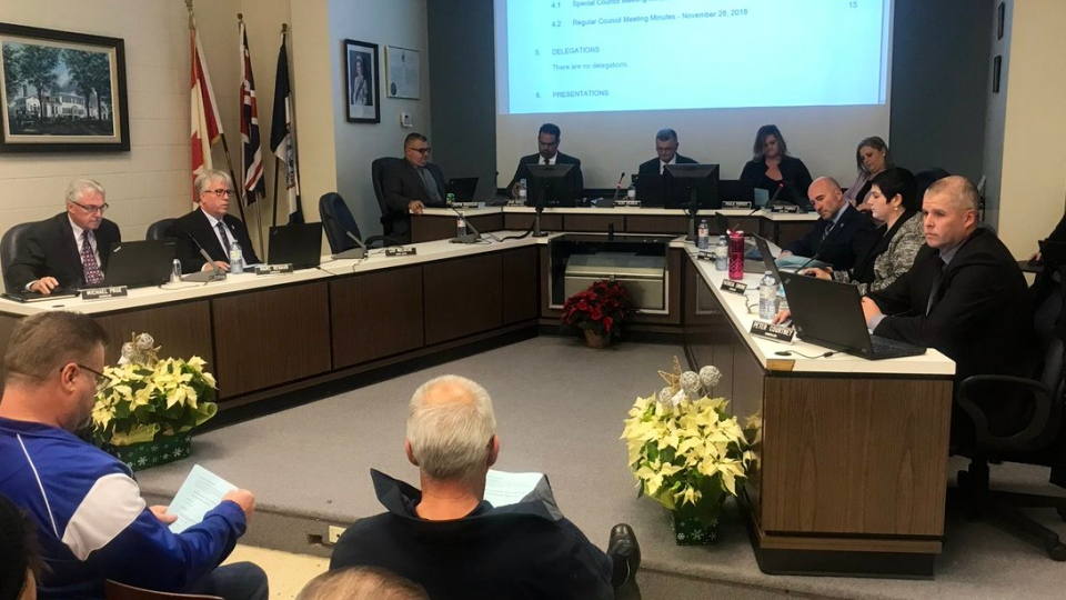Amherstburg Town Council pictured here on December 10, 2018. (Rich Garton / CTV Windsor)