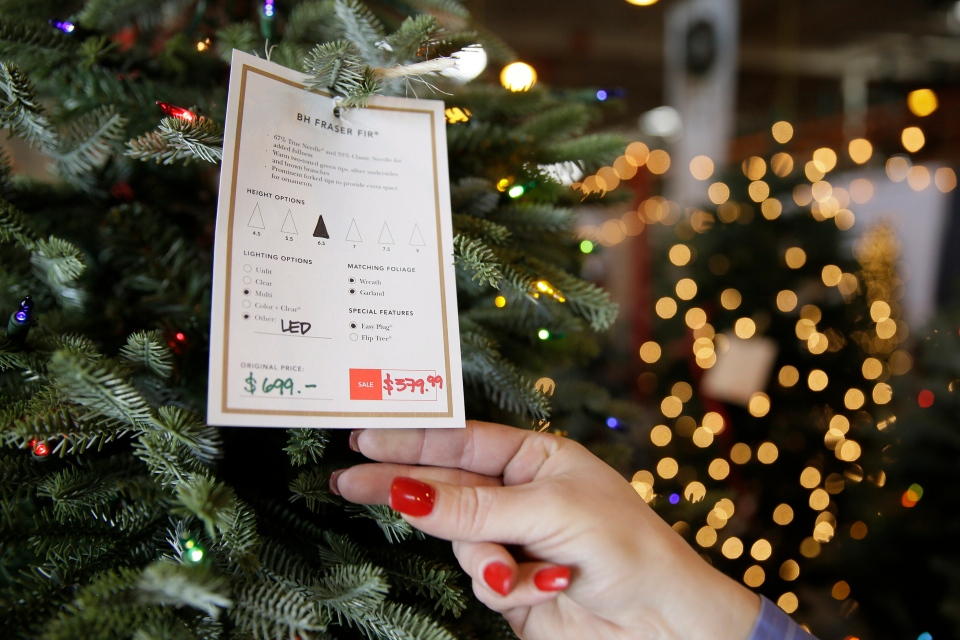 In this Friday, Nov. 30, 2018, photo, a salesperson displays the price tag of an artificial Christmas tree at the Balsam Hill Outlet store in Burlingame, Calif. (AP Photo/Eric Risberg)