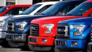 In this Nov. 19, 2015, file photo a row of 2015 Ford F-150 pickup trucks are parked on the sales lot at Butler County Ford in Butler, Pa. (AP Photo/Keith Srakocic, File)