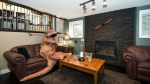 The dinosaur was photographed in various poses throughout the house. (Erin Hettle)