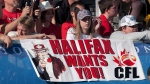 Halifax fans show their support for an East Coast franchise as the Calgary Stampeders and Hamilton Tiger-Cats compete in CFL action in Moncton, N.B. on Sunday, Sept. 25, 2011.  (THE CANADIAN PRESS/Andrew Vaughan)