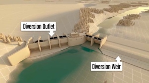 During a flood, a diversion channel would carry water from the Elbow River to the off-stream reservoir. (Alberta Transportation)