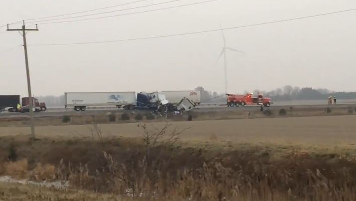 The crash took place in the westbound lanes of Highway 401 near Merlin Road in Chatham-Kent on Tuesday, Dec. 11, 2018. (Peter Langille / AM800)