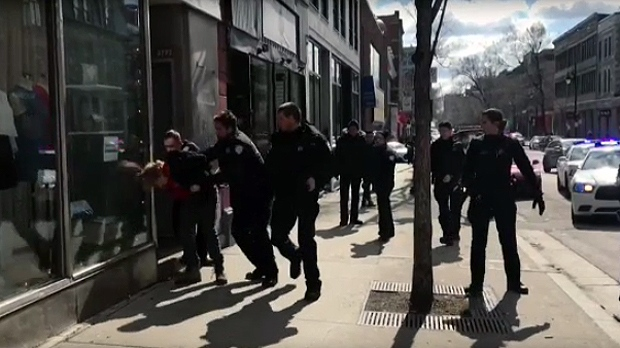 At least six Montreal police officers arrested Montreal Brian Mann on April 7, 2018 for talking too loudly on St. Laurent Blvd.
