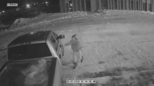 One of the suspects is seen on surveillance video getting into a pick up truck following the robbery.